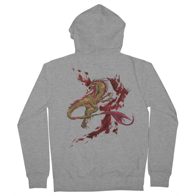 Zombie Raptor Men's Zip-Up Hoody by xanderlewis's Artist Shop