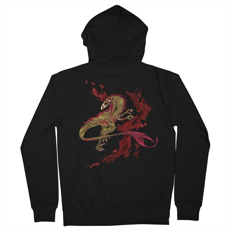 Zombie Raptor Men's Zip-Up Hoody by xanderlewis's Artist Shop