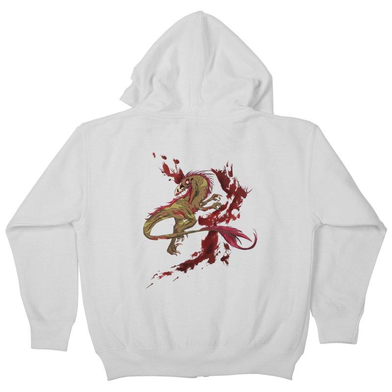 Zombie Raptor Kids Zip-Up Hoody by xanderlewis's Artist Shop
