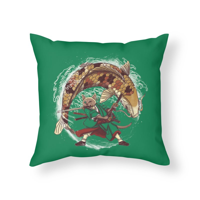 Three Swords Cat Home Throw Pillow by xiaobaosg