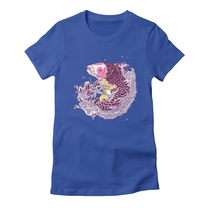 The Big Catch in Women's Fitted T-Shirt Royal Blue by xiaobaosg