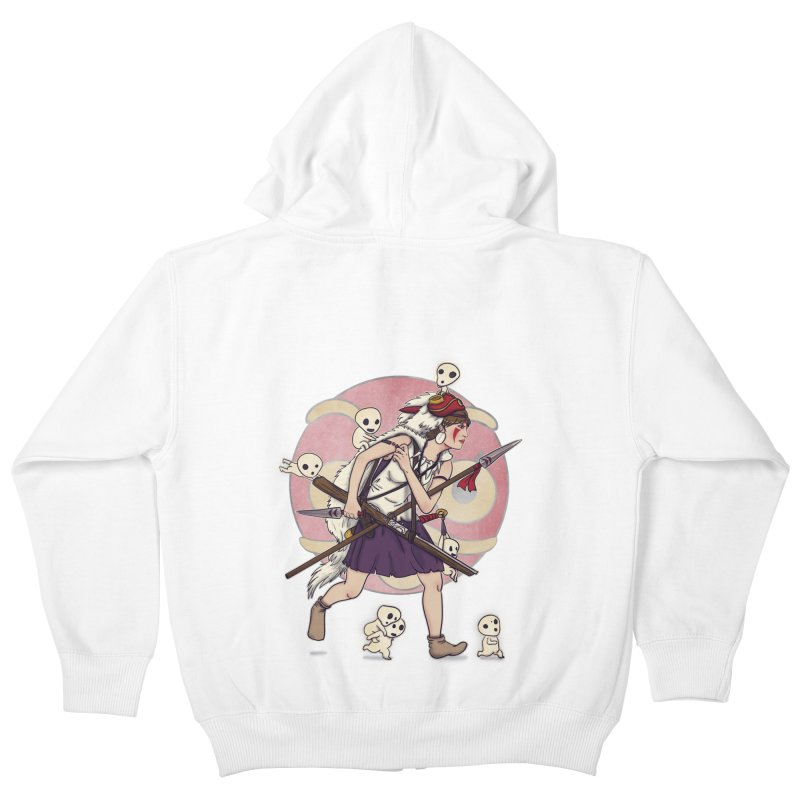 Wolf Girl to the rescue Kids Zip-Up Hoody by xiaobaosg