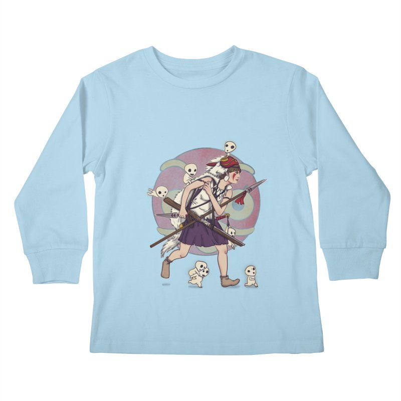 Wolf Girl to the rescue Kids Longsleeve T-Shirt by xiaobaosg