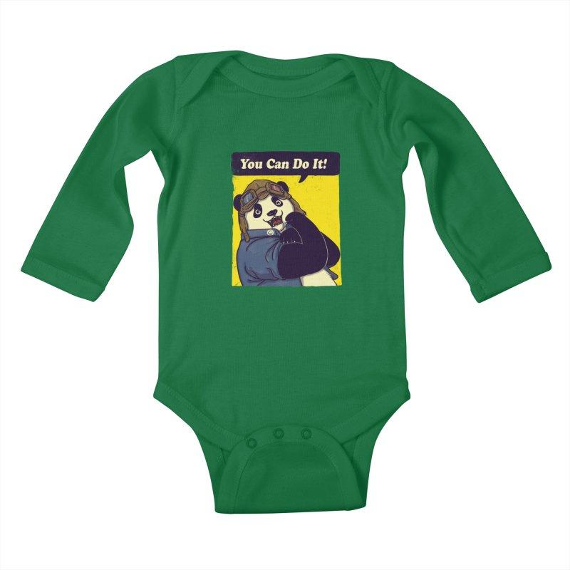 You Can Do It! Kids Baby Longsleeve Bodysuit by xiaobaosg
