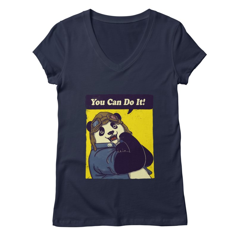 You Can Do It! Women's V-Neck by xiaobaosg