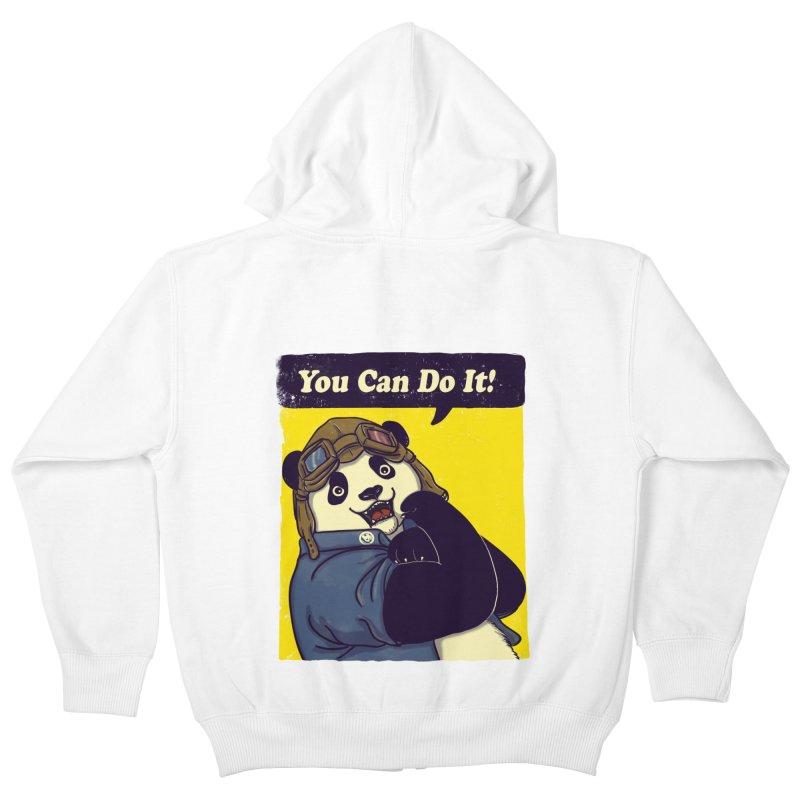 You Can Do It! Kids Zip-Up Hoody by xiaobaosg