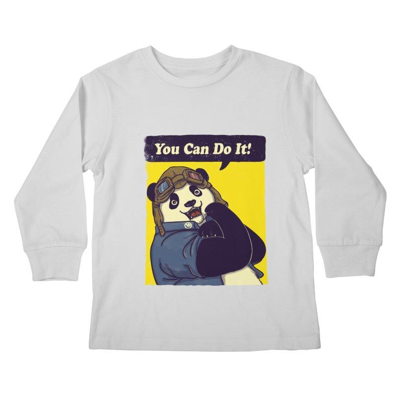 You Can Do It! Kids Longsleeve T-Shirt by xiaobaosg