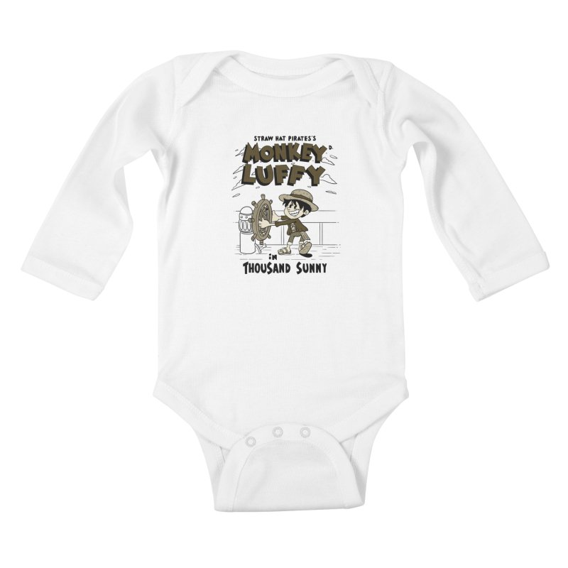Steamboat Luffy Classic Monotone Ver Kids Baby Longsleeve Bodysuit by xiaobaosg