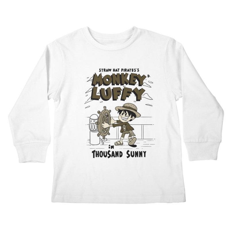 Steamboat Luffy Classic Monotone Ver Kids Longsleeve T-Shirt by xiaobaosg