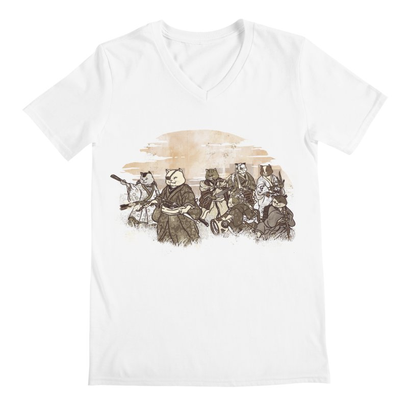 Seven Samurai Cat Men's Regular V-Neck by xiaobaosg
