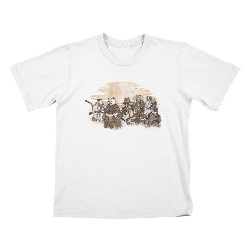 Seven Samurai Cat Kids T-Shirt by xiaobaosg