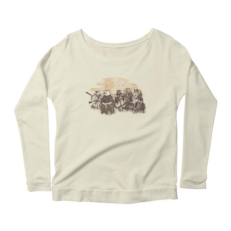 Seven Samurai Cat Women's Scoop Neck Longsleeve T-Shirt by xiaobaosg