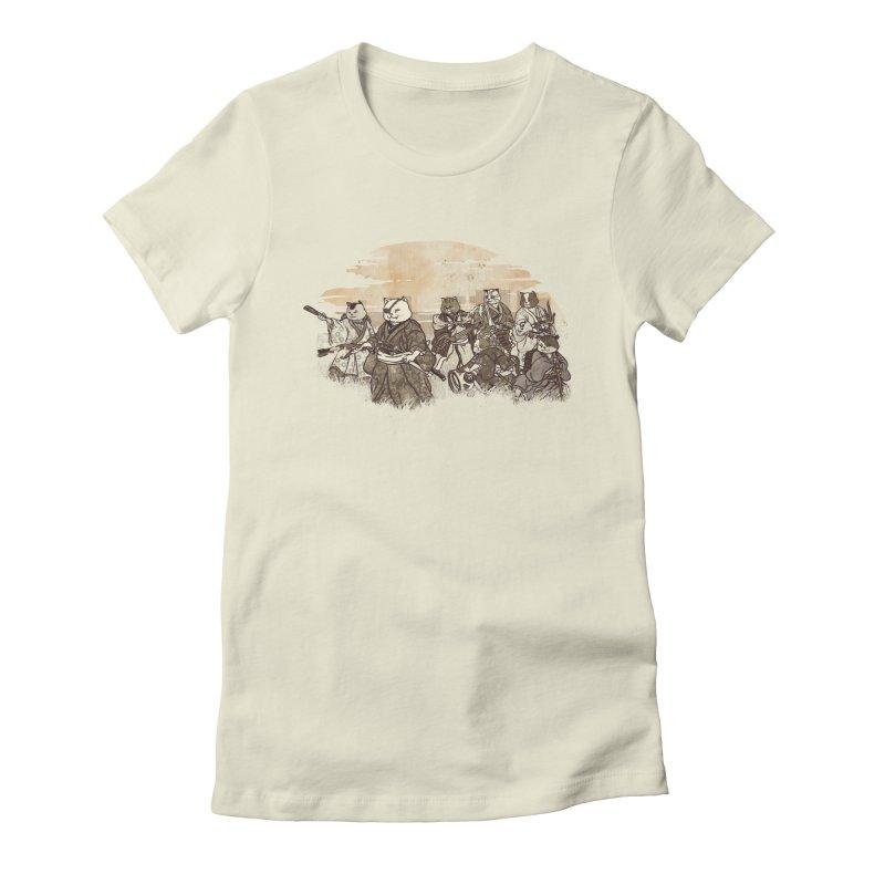 Seven Samurai Cat Women's Fitted T-Shirt by xiaobaosg