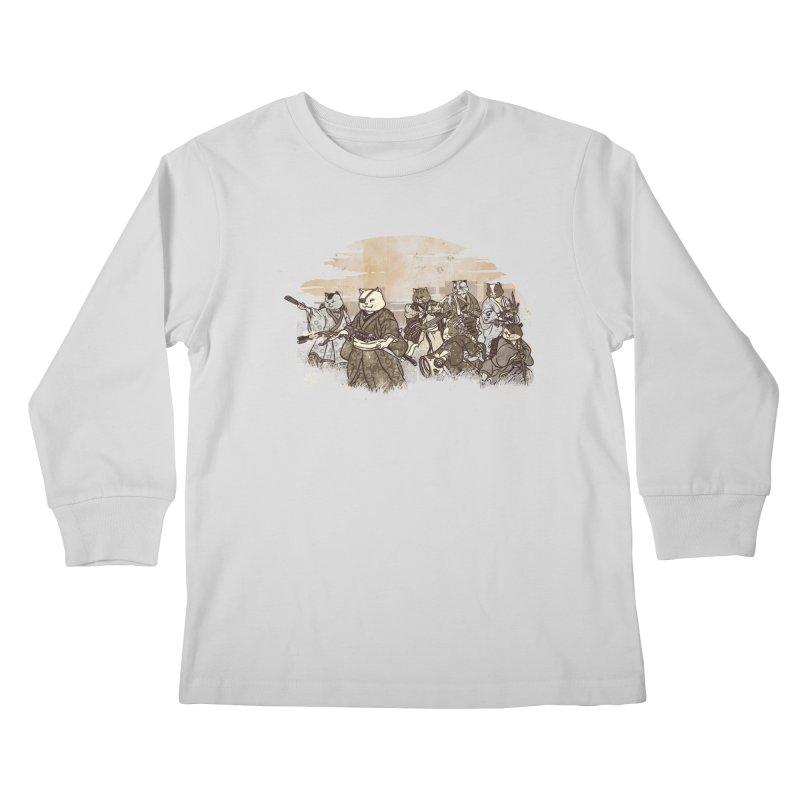 Seven Samurai Cat Kids Longsleeve T-Shirt by xiaobaosg