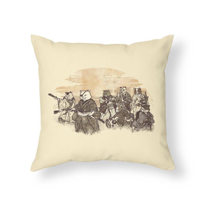 Seven Samurai Cat Home Throw Pillow by xiaobaosg