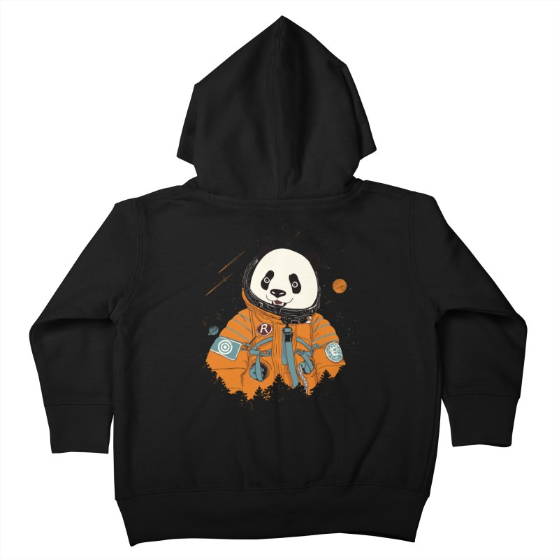 Pandastronaut in Kids Toddler Zip-Up Hoody Black by xiaobaosg