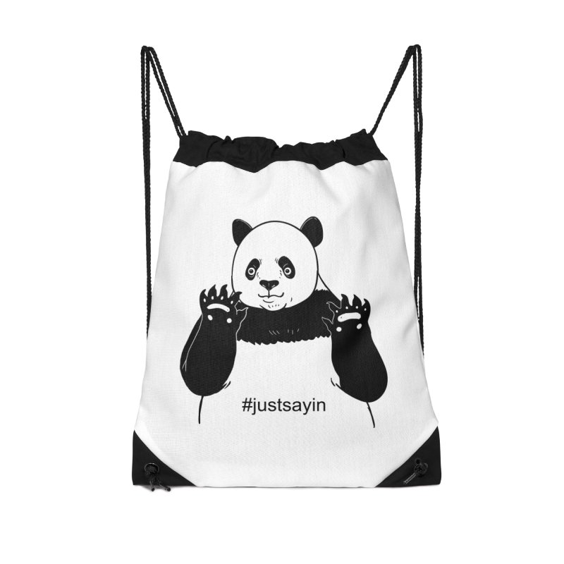 Just Saying Accessories Drawstring Bag Bag by xiaobaosg