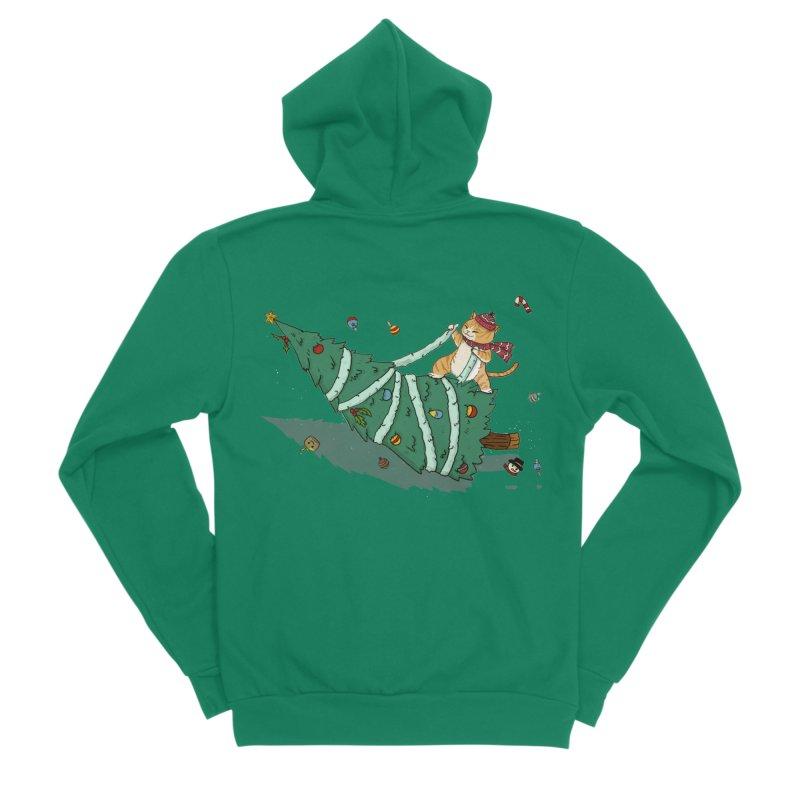 Xmas Tree Rider Men's Sponge Fleece Zip-Up Hoody by xiaobaosg