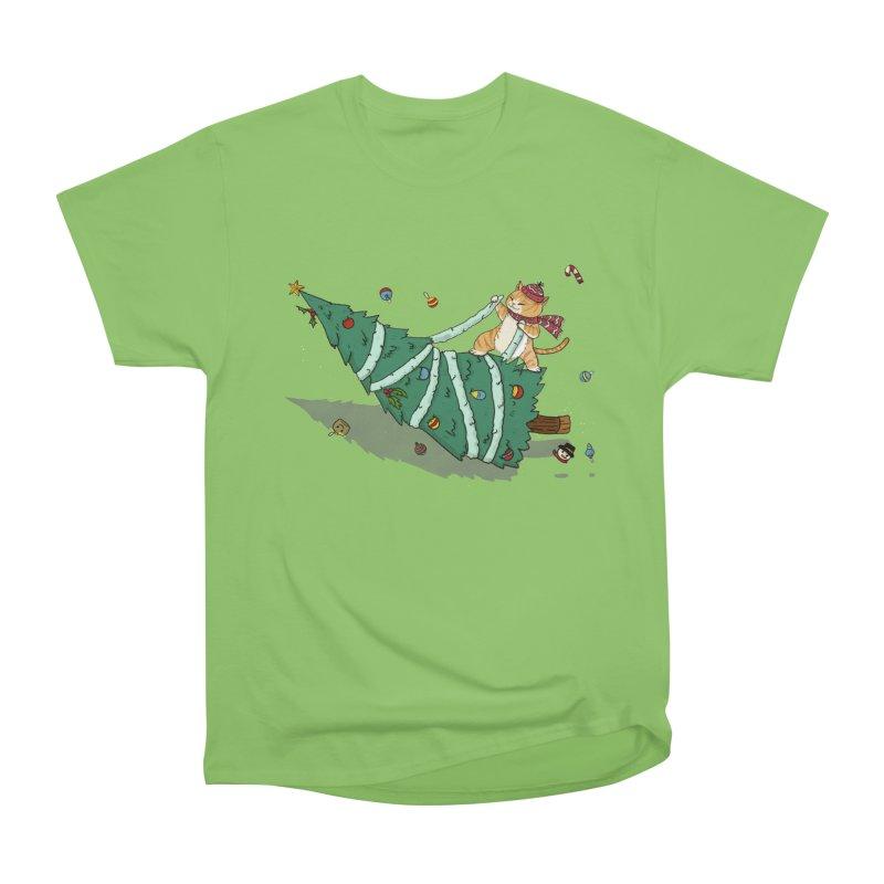 Xmas Tree Rider Men's Heavyweight T-Shirt by xiaobaosg