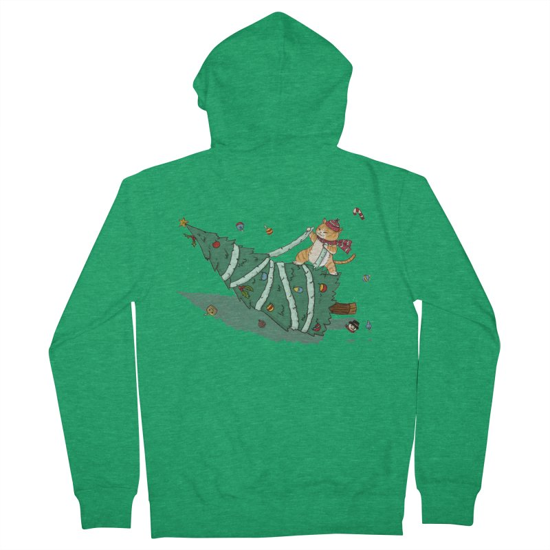 Xmas Tree Rider Men's French Terry Zip-Up Hoody by xiaobaosg