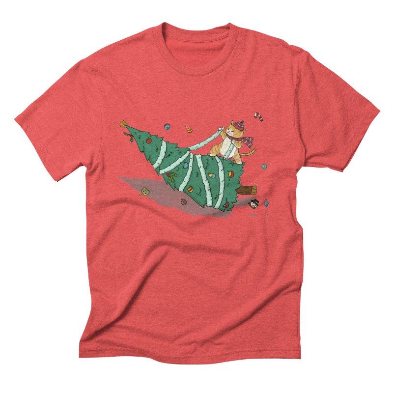 Xmas Tree Rider Men's Triblend T-Shirt by xiaobaosg