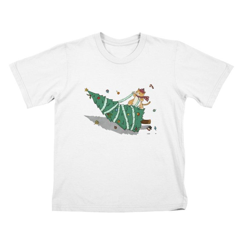 Xmas Tree Rider Kids T-Shirt by xiaobaosg