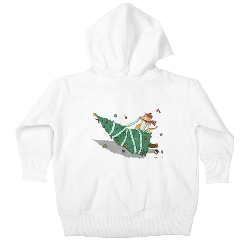 Xmas Tree Rider Kids Baby Zip-Up Hoody by xiaobaosg