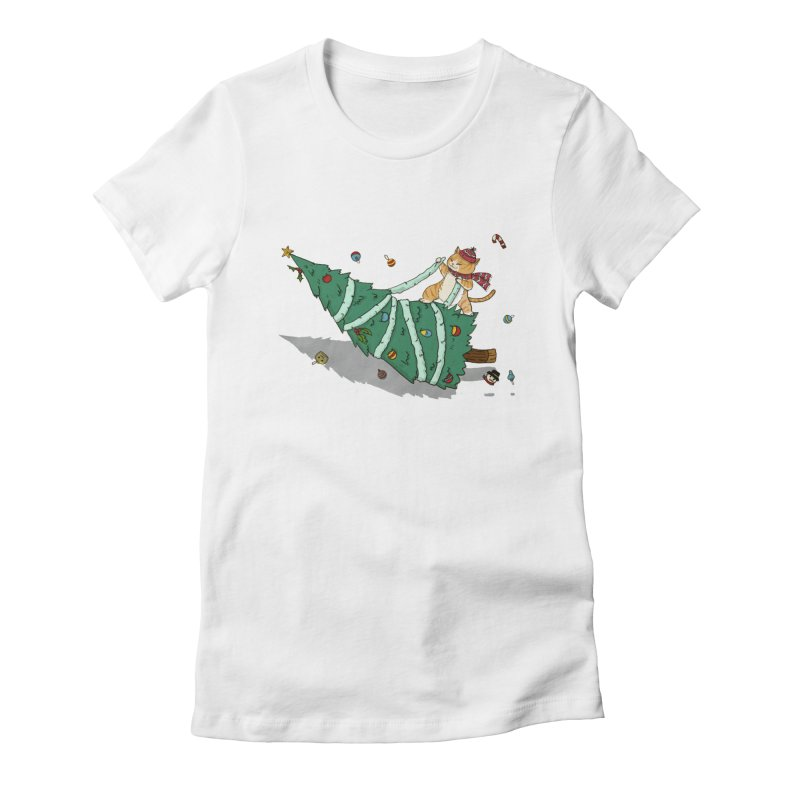 Xmas Tree Rider Women's Fitted T-Shirt by xiaobaosg