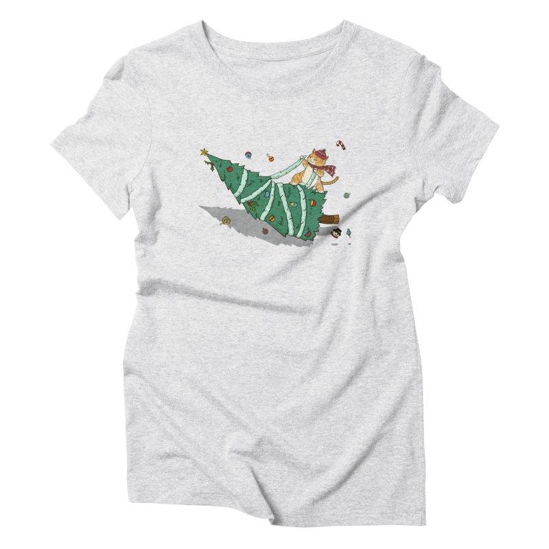 Xmas Tree Rider Women's Triblend T-Shirt by xiaobaosg