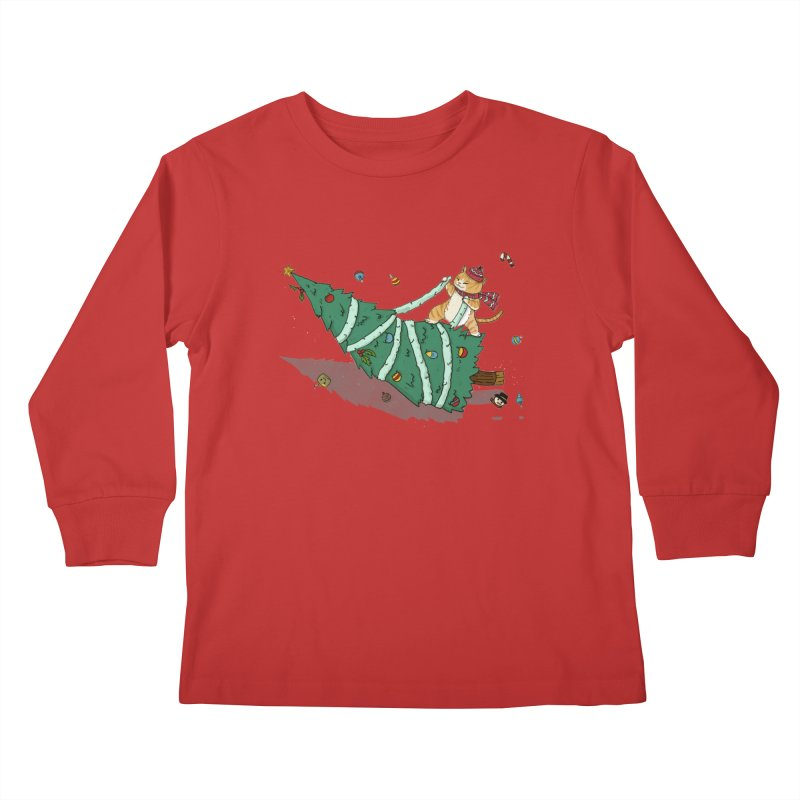 Xmas Tree Rider Kids Longsleeve T-Shirt by xiaobaosg
