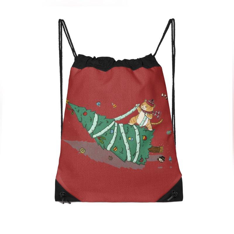 Xmas Tree Rider Accessories Drawstring Bag Bag by xiaobaosg