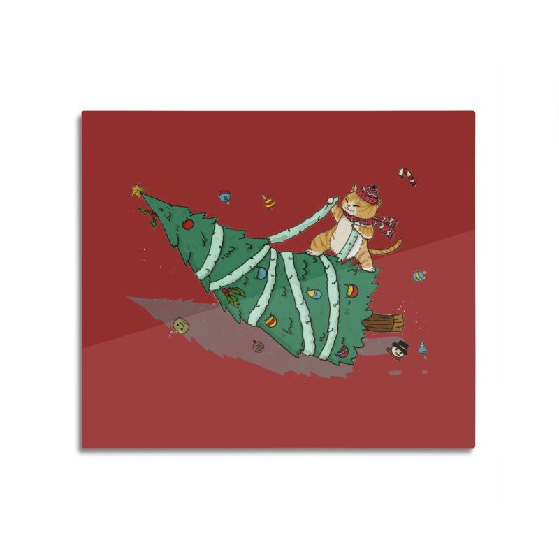 Xmas Tree Rider Home Mounted Aluminum Print by xiaobaosg