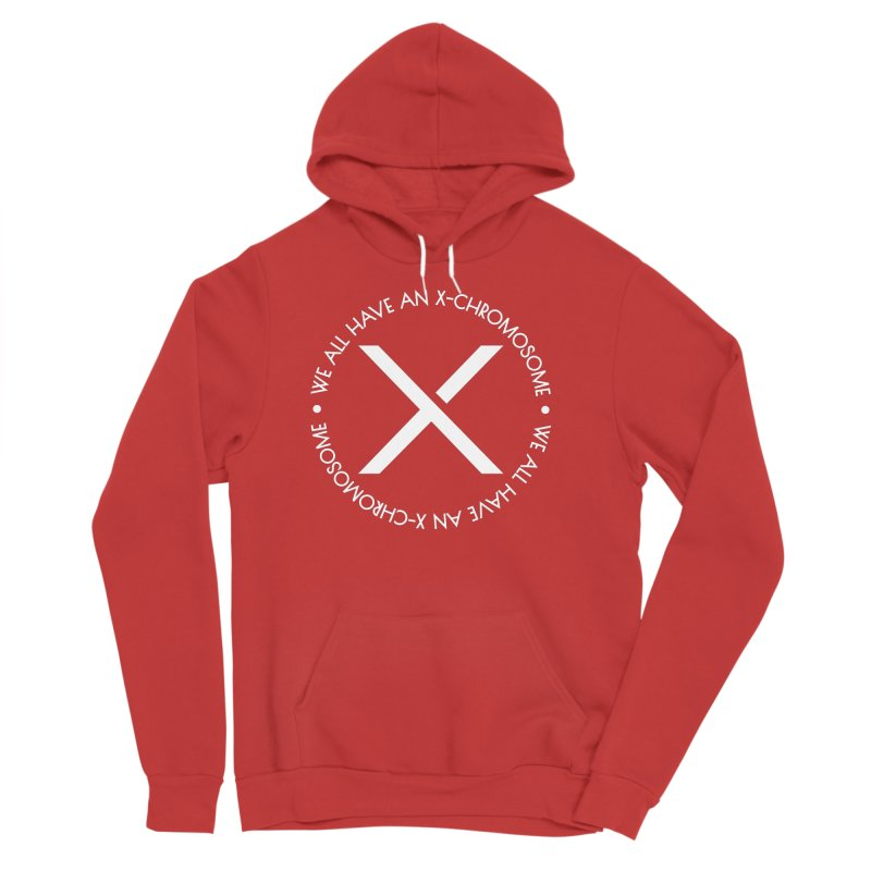 We All Have An X-Chromosome White Logo Men's Sponge Fleece Pullover Hoody by We All Have An X-Chromosome Shop