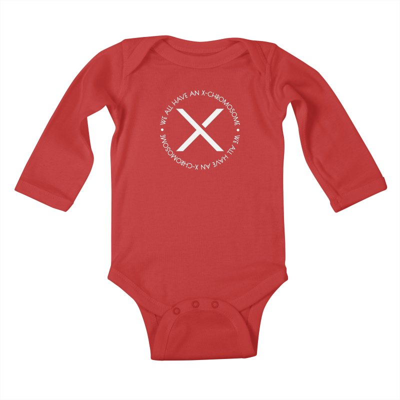 We All Have An X-Chromosome White Logo Kids Baby Longsleeve Bodysuit by We All Have An X-Chromosome Shop