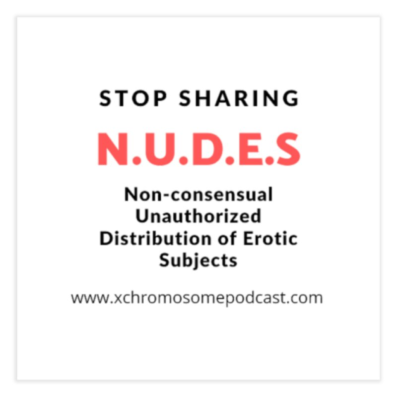 STOP SHARING N.U.D.E.S on white Home Fine Art Print by We All Have An X-Chromosome Shop