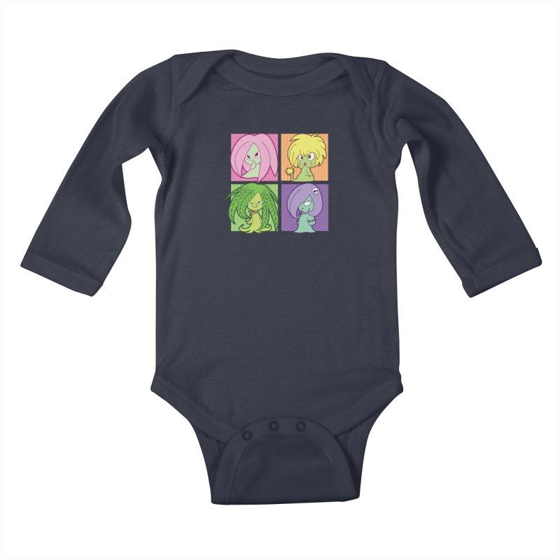 Posey, Dandelion, Fern and Thorn Kids Baby Longsleeve Bodysuit by Kappacino Creations