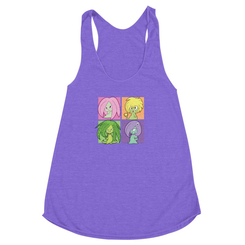Posey, Dandelion, Fern and Thorn Women's Racerback Triblend Tank by Kappacino Creations