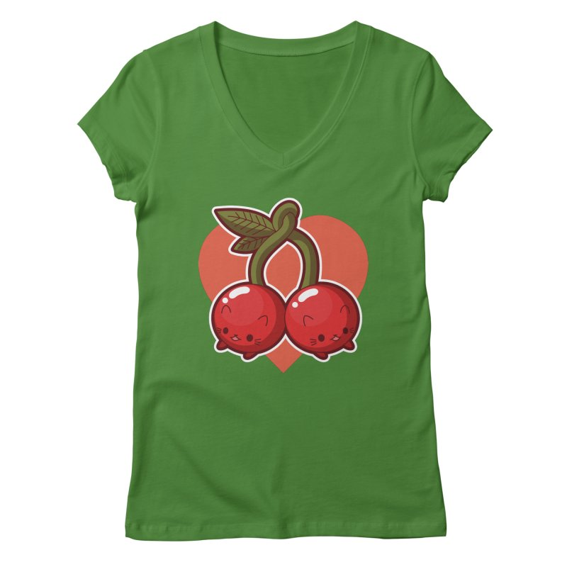 Cherries Women's V-Neck by Kappacino Creations