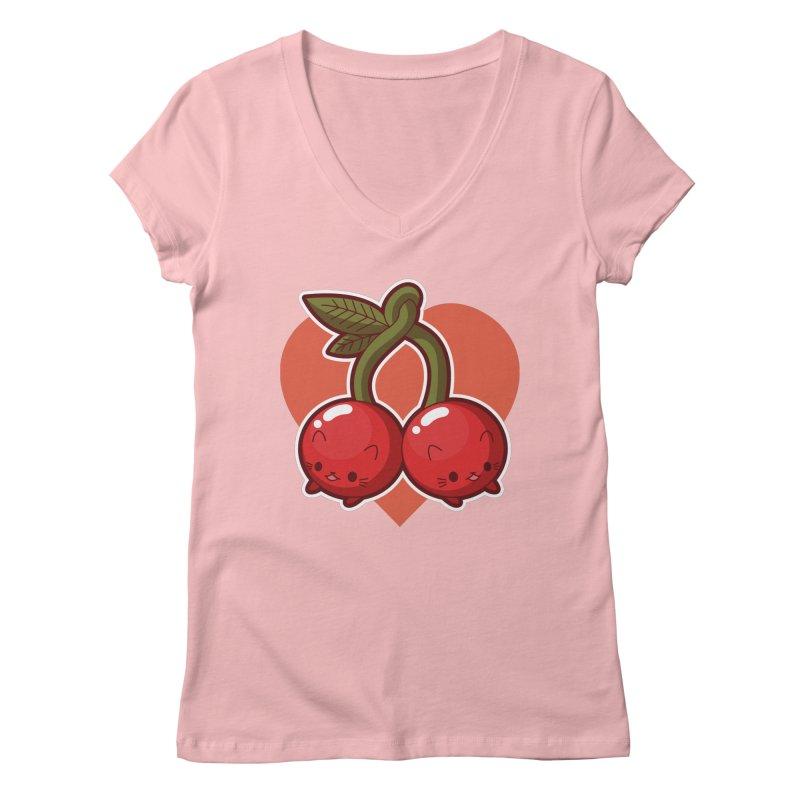 Cherries Women's V-Neck by Kappacino Creations