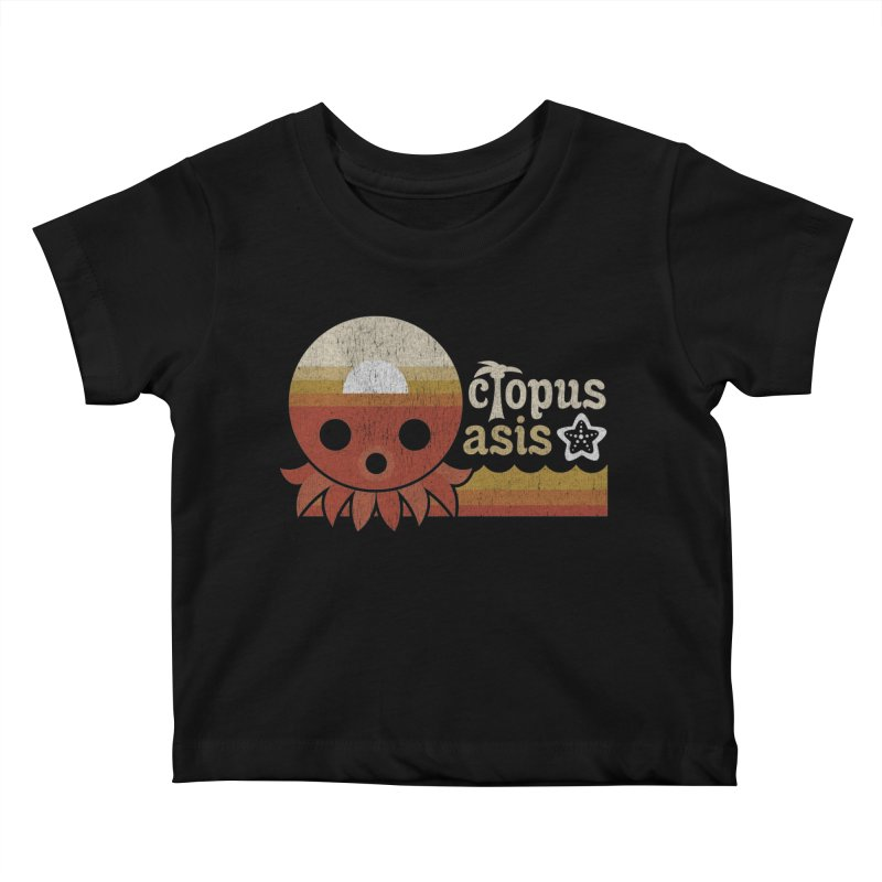 Octopus Oasis - Sunset Kids Baby T-Shirt by Kappacino Creations