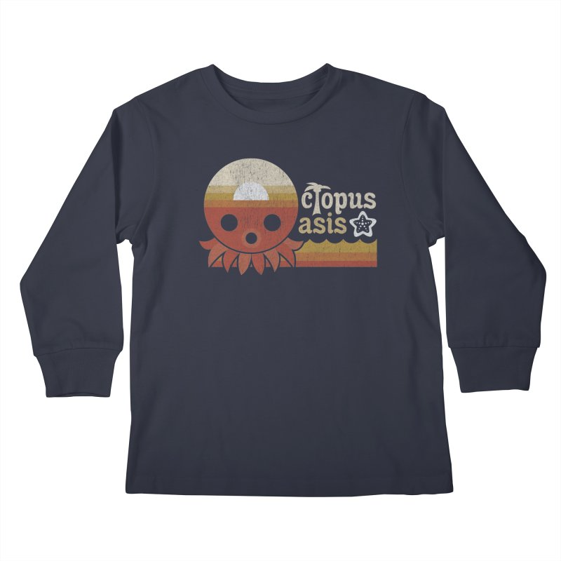 Octopus Oasis - Sunset Kids Longsleeve T-Shirt by Kappacino Creations