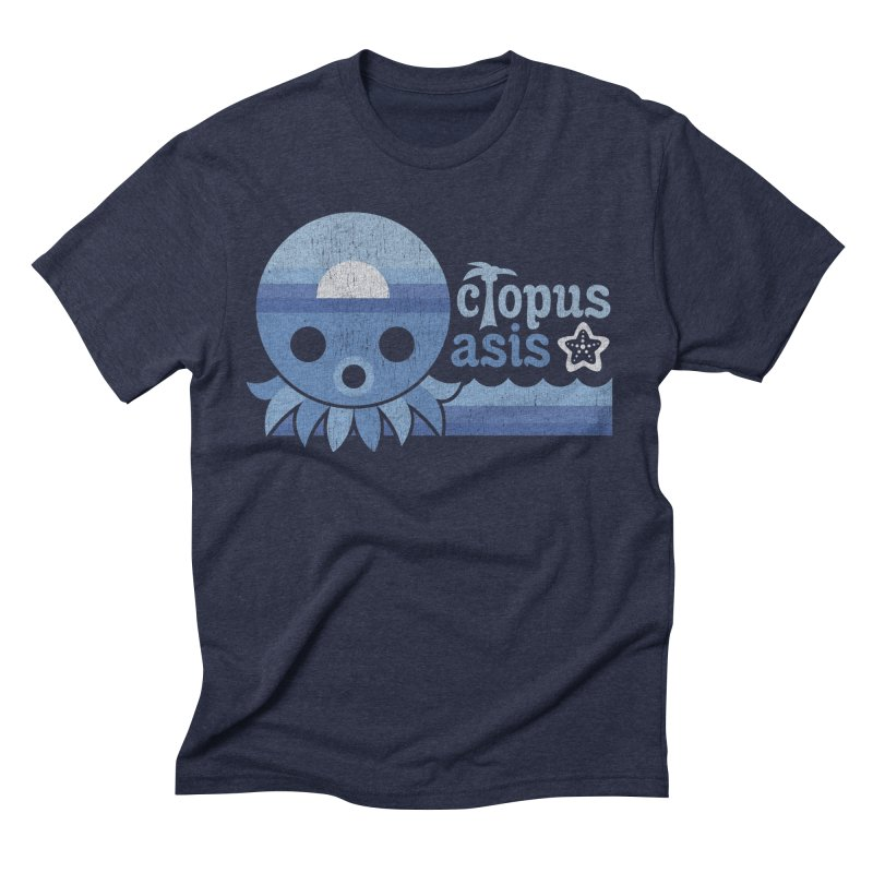 Octopus Oasis - Sea and Sky Men's Triblend T-shirt by Kappacino Creations