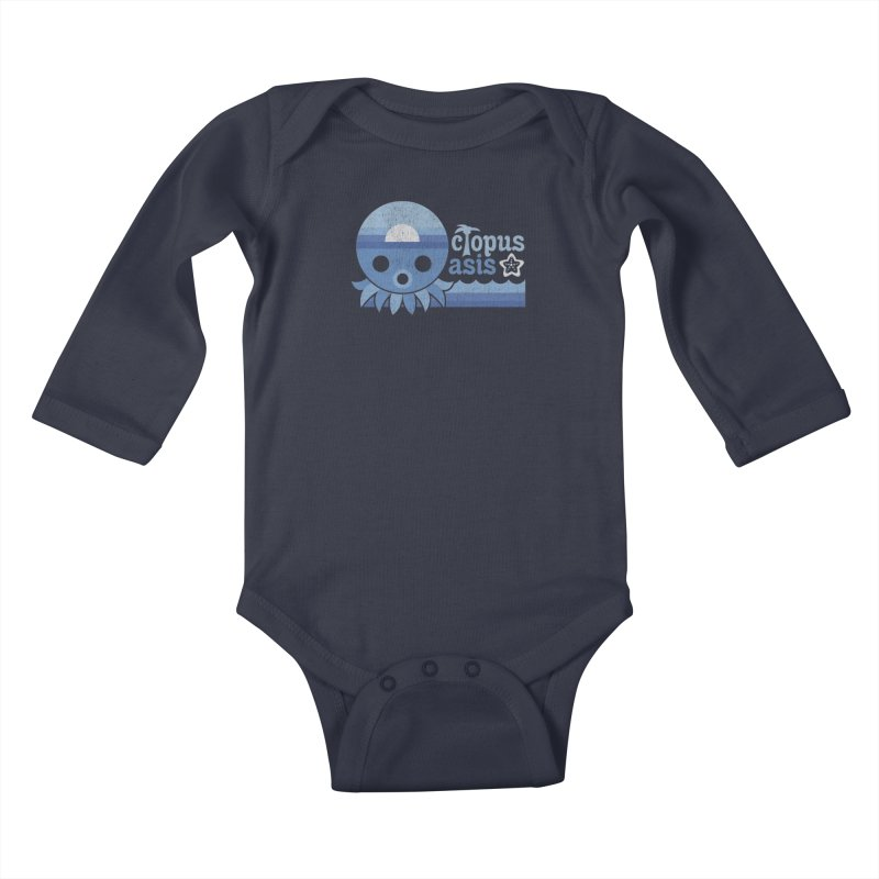 Octopus Oasis - Sea and Sky Kids Baby Longsleeve Bodysuit by Kappacino Creations