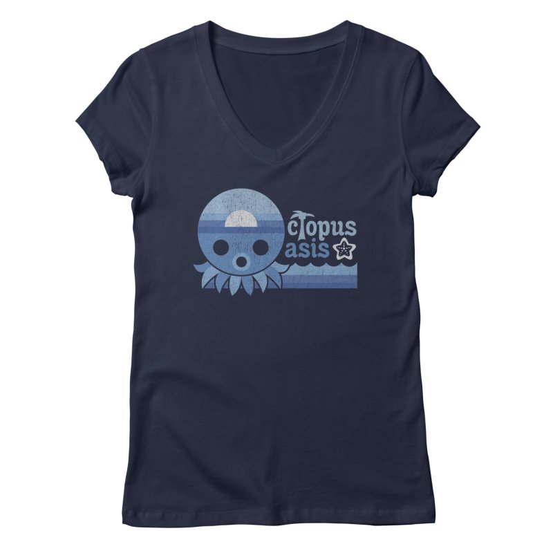 Octopus Oasis - Sea and Sky Women's Regular V-Neck by Kappacino Creations