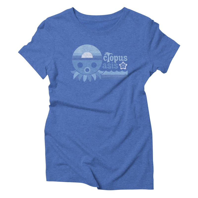 Octopus Oasis - Sea and Sky Women's Triblend T-Shirt by Kappacino Creations