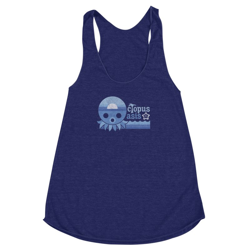 Octopus Oasis - Sea and Sky Women's Racerback Triblend Tank by Kappacino Creations