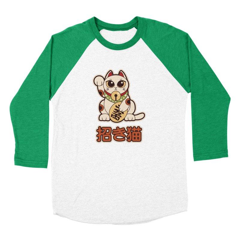Maneki Neko Women's Baseball Triblend Longsleeve T-Shirt by Kappacino Creations