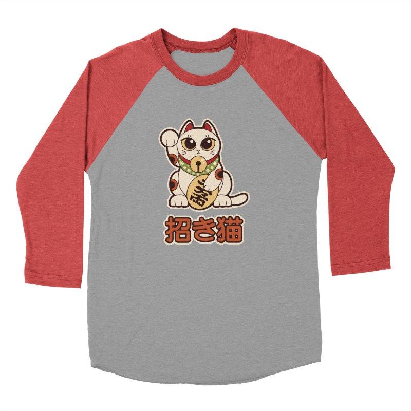 Maneki Neko Women's Baseball Triblend T-Shirt by Kappacino Creations