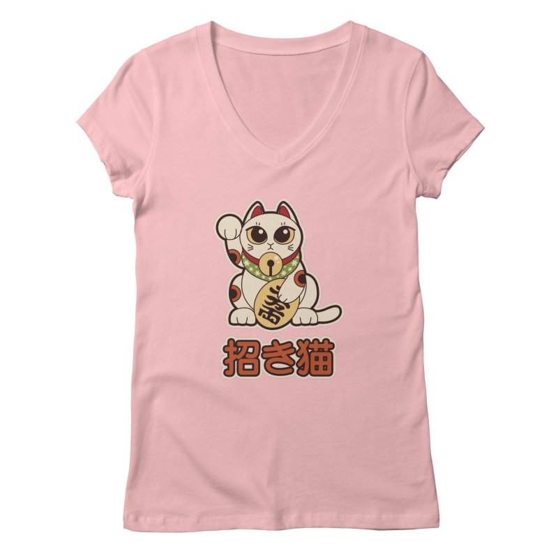 Maneki Neko Women's V-Neck by Kappacino Creations
