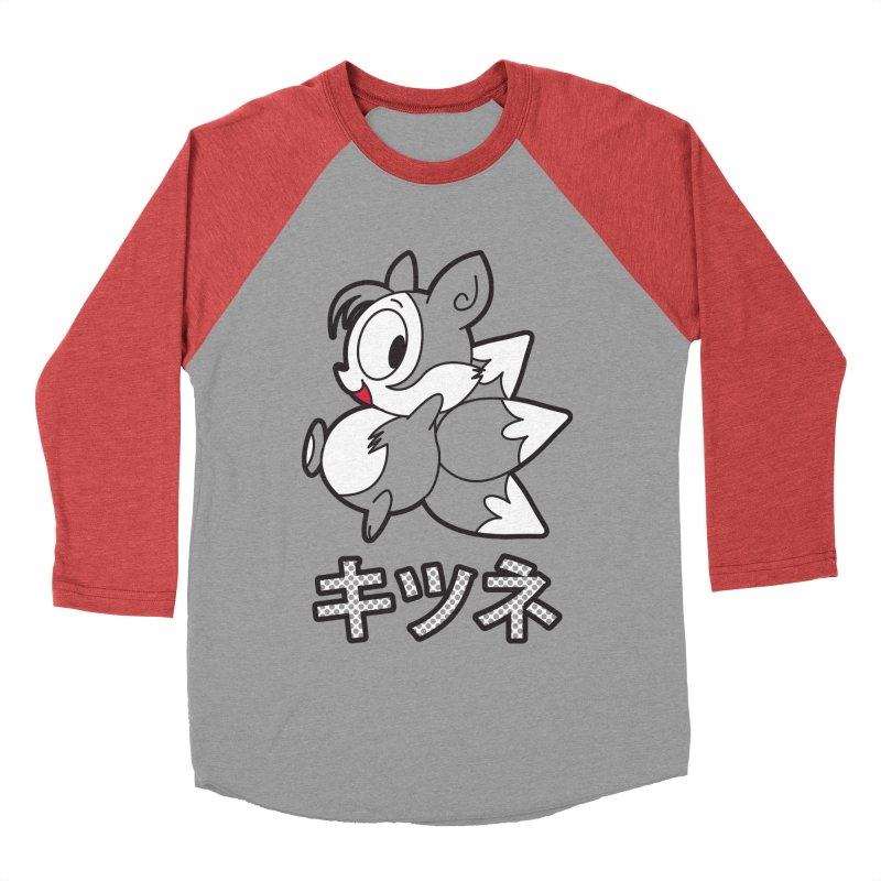 Katakana Kitsune Men's Baseball Triblend T-Shirt by Kappacino Creations